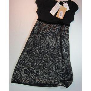 Kosmika Stretch Knit Dress Black & Gold Small Lace